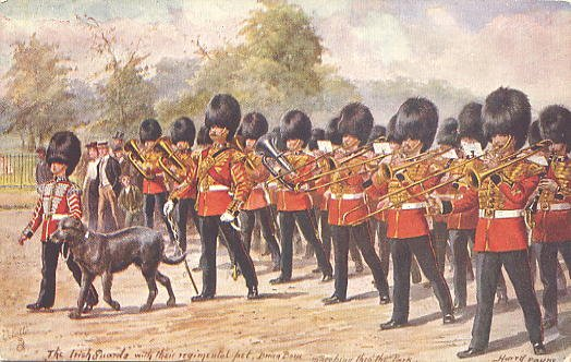 The Irish Guards marching through the park