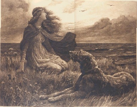 girl with wolfhound at her side